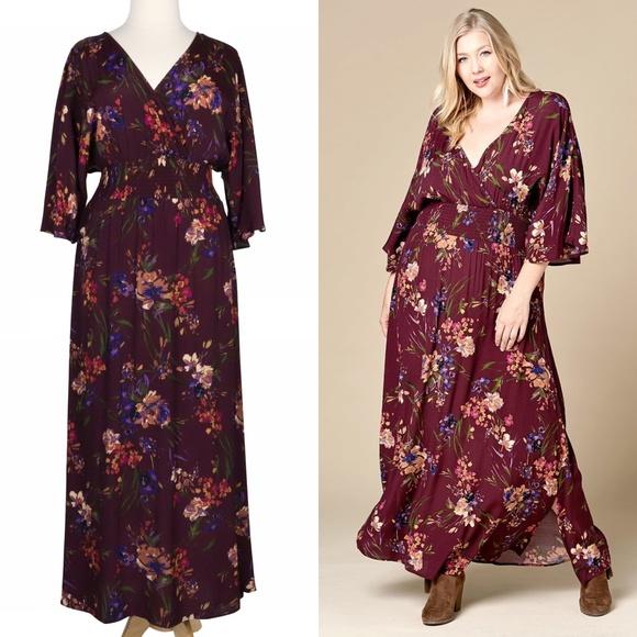 Oddi Dresses & Skirts - Moody Florals 2X Plum Purple Long Boho Maxi Dress